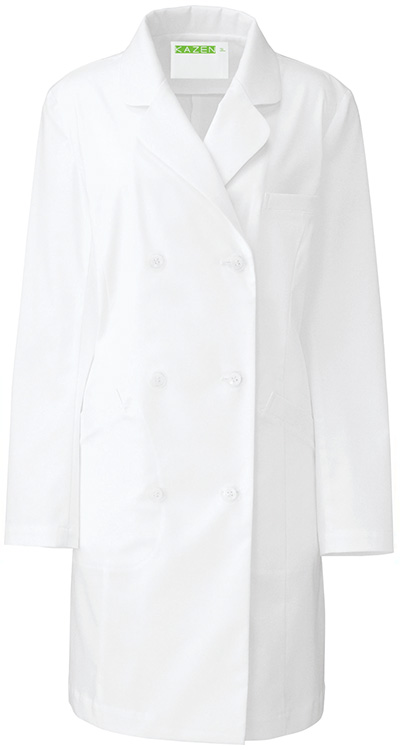 カゼン レディス診察衣W型/白衣(ハーフ丈)販売。刺繍、プリント加工対応します。研修医、医療チームウェアに人気