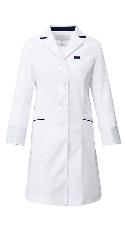 レディスシングルコート/白衣販売。刺繍、プリント加工対応します。研修医、医療チームウェアに人気