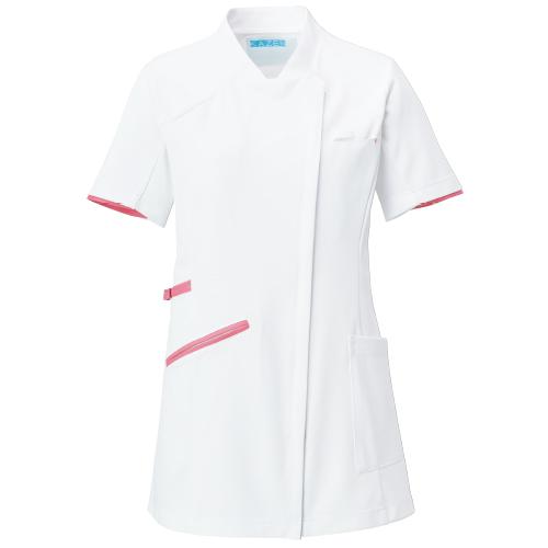 カゼン レディスチュニックジャケット半袖販売。刺繍、プリント加工対応します。研修医、医療チームウェアに人気