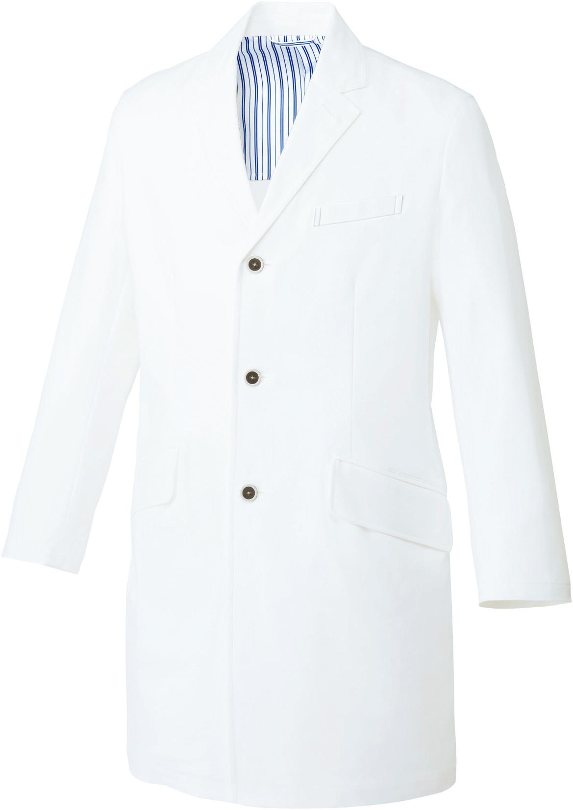 ドクターコート/白衣(長袖)[男]販売。刺繍、プリント加工対応します。研修医、医療チームウェアに人気