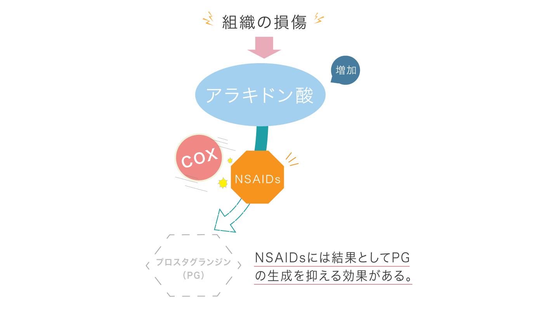 図2 NSAIDsが炎症を抑えるしくみ NSAIDsはCOXの働きを阻害し、プロスタグランジン生成を抑えることで痛みや炎症を抑える