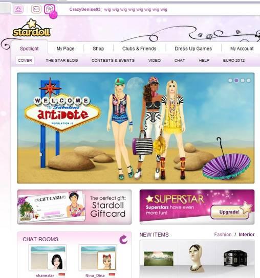 ヴァーチャル着替人形を使ったソーシャルゲーム、Stardoll