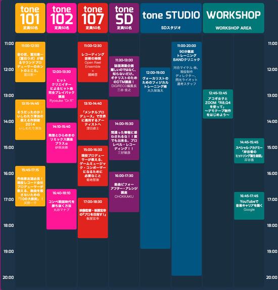 音楽人養成クリエイティブ講座フェス「Sonic Academy」タイムテーブル 9月13日