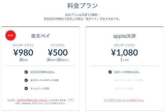 定額制音楽配信サービス「Rakuten Music」価格