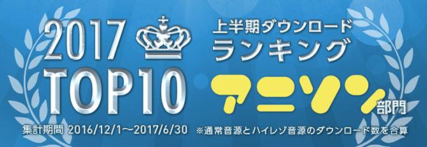 「mora」2017年上半期ランキング アニソン部門TOP100