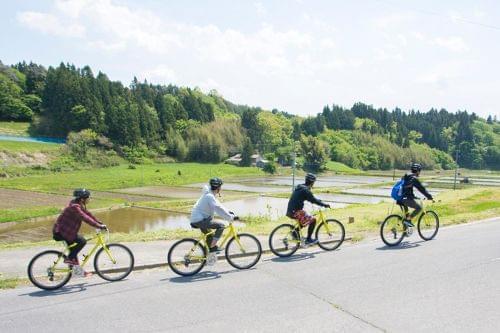 田園風景の中を自転車で散策します