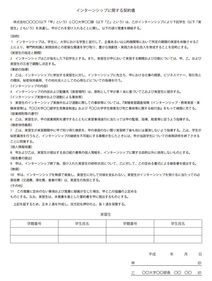 インターンシップに関する契約書