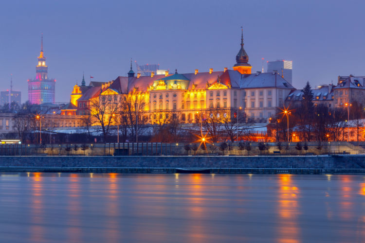 ポーランド、ワルシャワのクラシカルな街並み