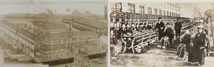 渋沢栄一が設立を命じた富岡製糸場の錦絵と、内覧時の様子(ともに渋沢史料館所蔵)