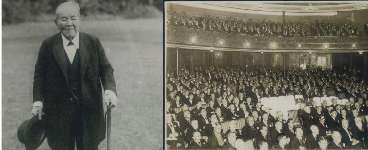 昭和2年、88歳を迎えた渋沢栄一(左)。昭和3年に帝国劇場で開かれた米寿祝賀会(右)には、全国の実業家有志が集結しました。(ともに渋沢史料館所蔵)