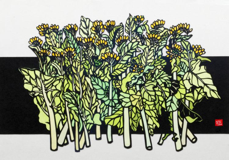 菜の花/久保 修。身近な花々もよく描く題材の1つ