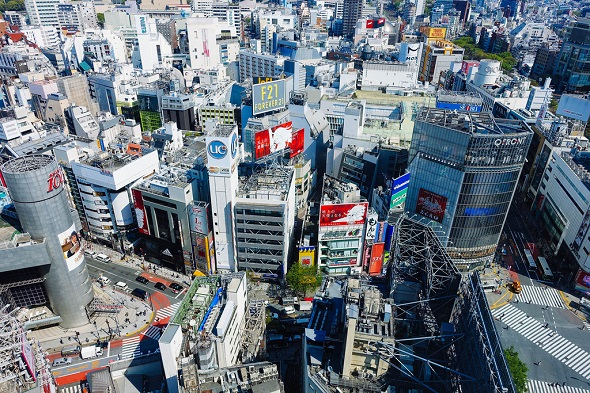 渋谷駅周辺を上空から撮った写真
