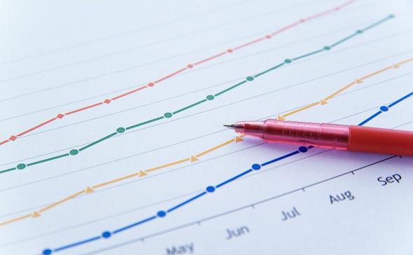 棒線グラフとペン