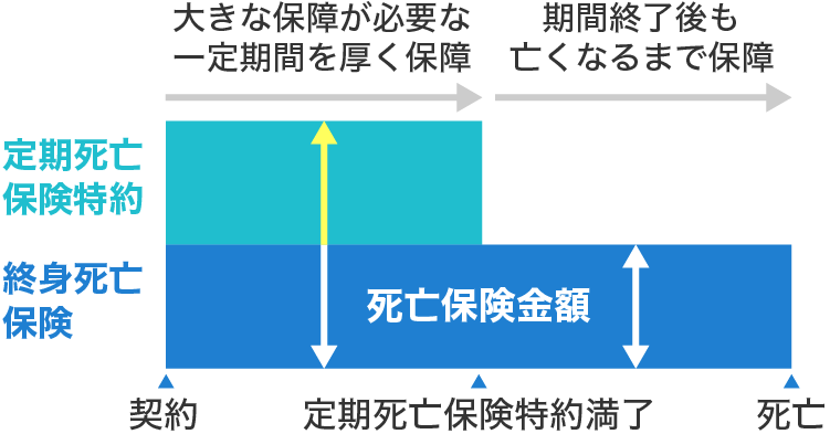 定期保険特約付終身死亡保険(定期付き終身)の仕組み