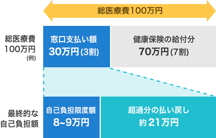 医療費が100万円の場合のシミュレーション