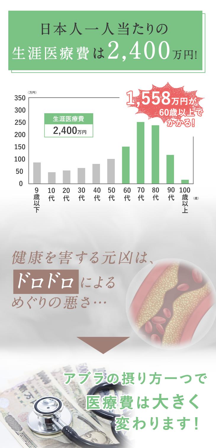 日本人一人当たりの生涯医療費は、約2400万円