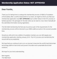 NEM財団の選挙権を得られなかった