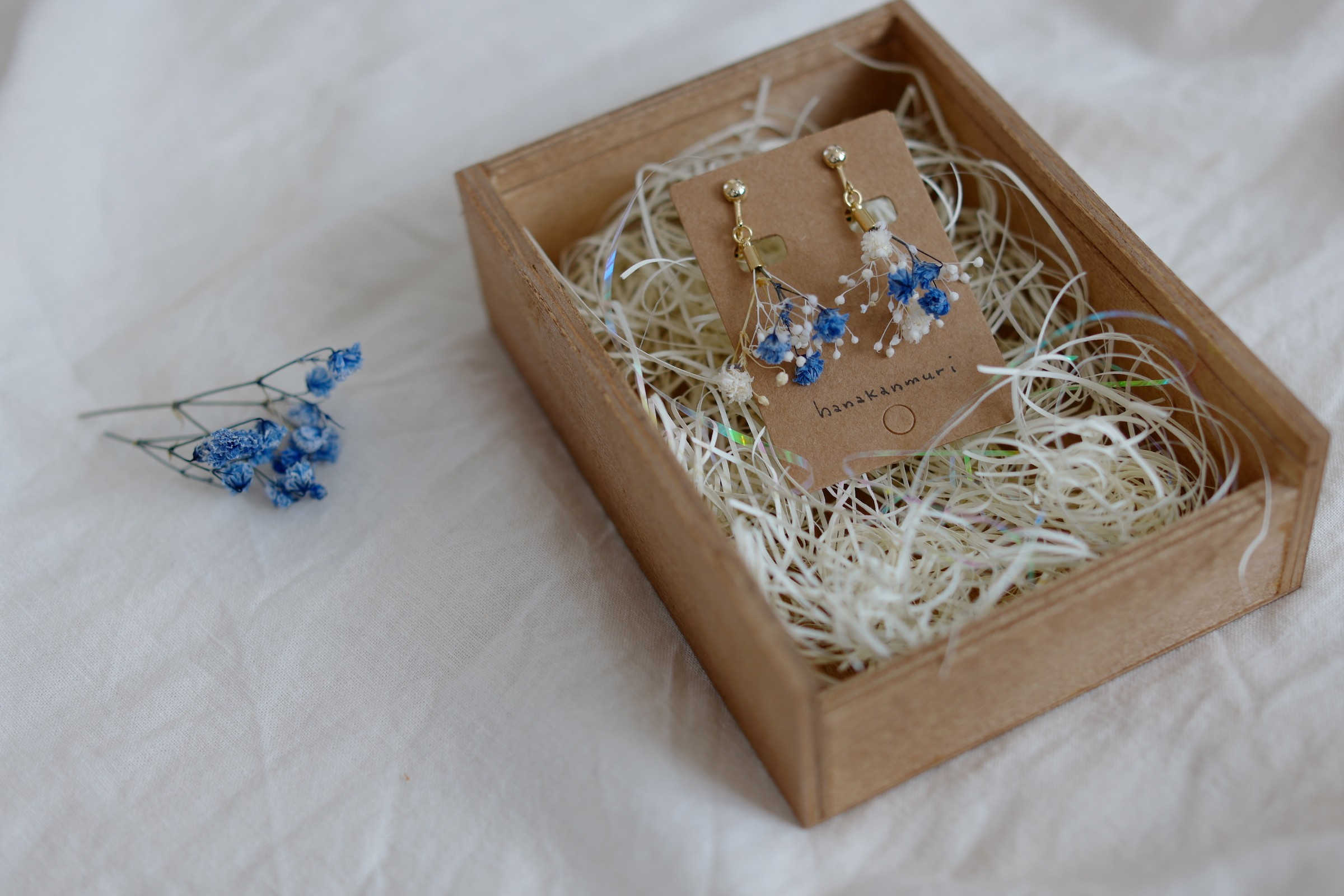 nemピアスのブルーのケース入り写真