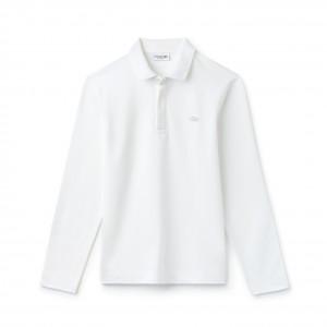定価16,200円 LACOSTE ラコステ レギュラーフィット ストレッチ パリポロシャツ (長袖)  white ホワイト白 3,4,5落札後サイズ選択