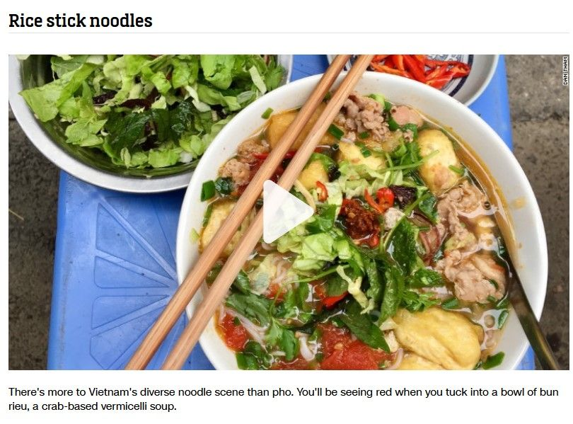 Bún riêu và cao lầu Việt Nam lọt top các món mì ngon nhất châu Á
