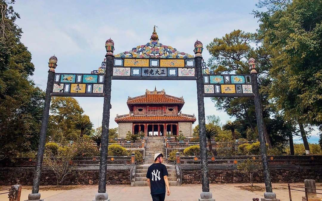 The impressive ancient architecture of the Royal Tomb of King Minh Mang in Hue