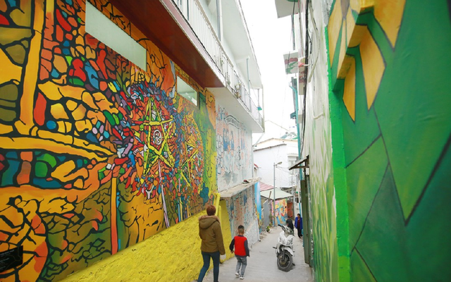The unique mural street on the old Nha Lang Slope in Da Lat
