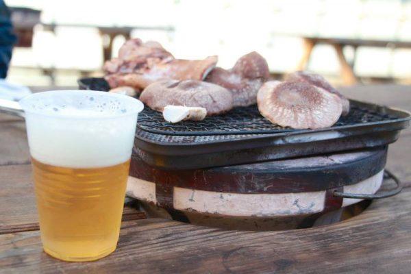きのこ狩りとビール