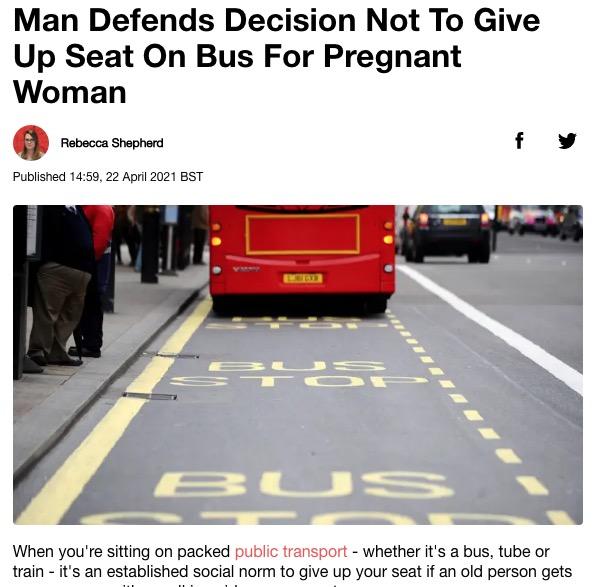 【海外発!Breaking News】「妊婦に席を譲らなかった僕は最低なのか?」男性の投稿が物議を醸す   Techinsight(テックインサイト) 海外セレブ、国内エンタメのオンリーワンをお届けするニュースサイト