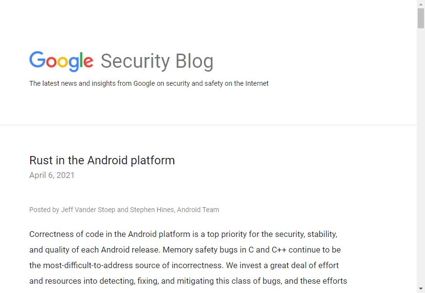 Rust言語でAndroidはより強固・安全に ~GoogleがOS開発への導入を進める - 窓の杜