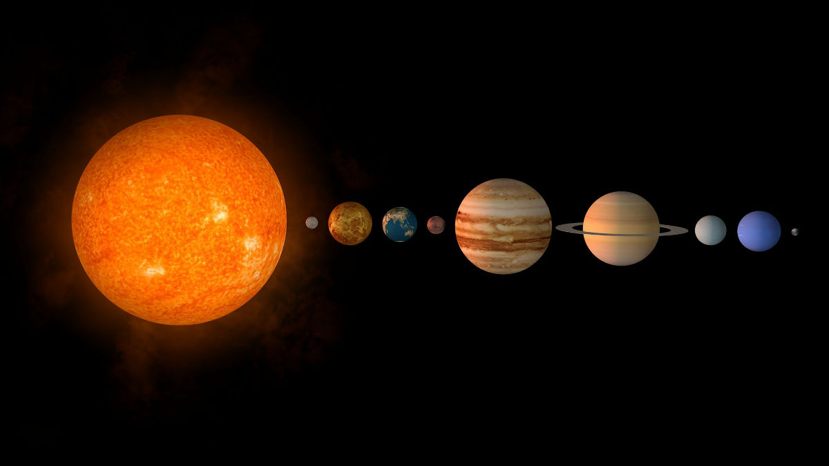 太陽系の各惑星の距離を対数スケ...