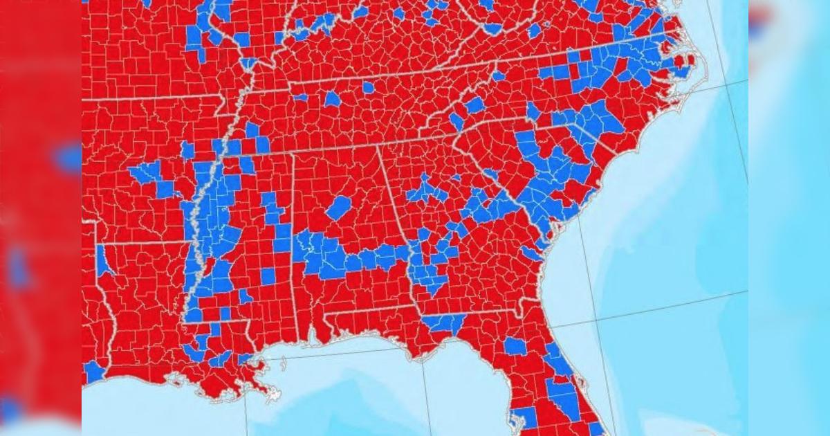 米南部にある民主党支持層の青い帯は、恐竜がいた一億年前の海岸に堆積した藻類の死骸の痕跡だという話 - Togetter