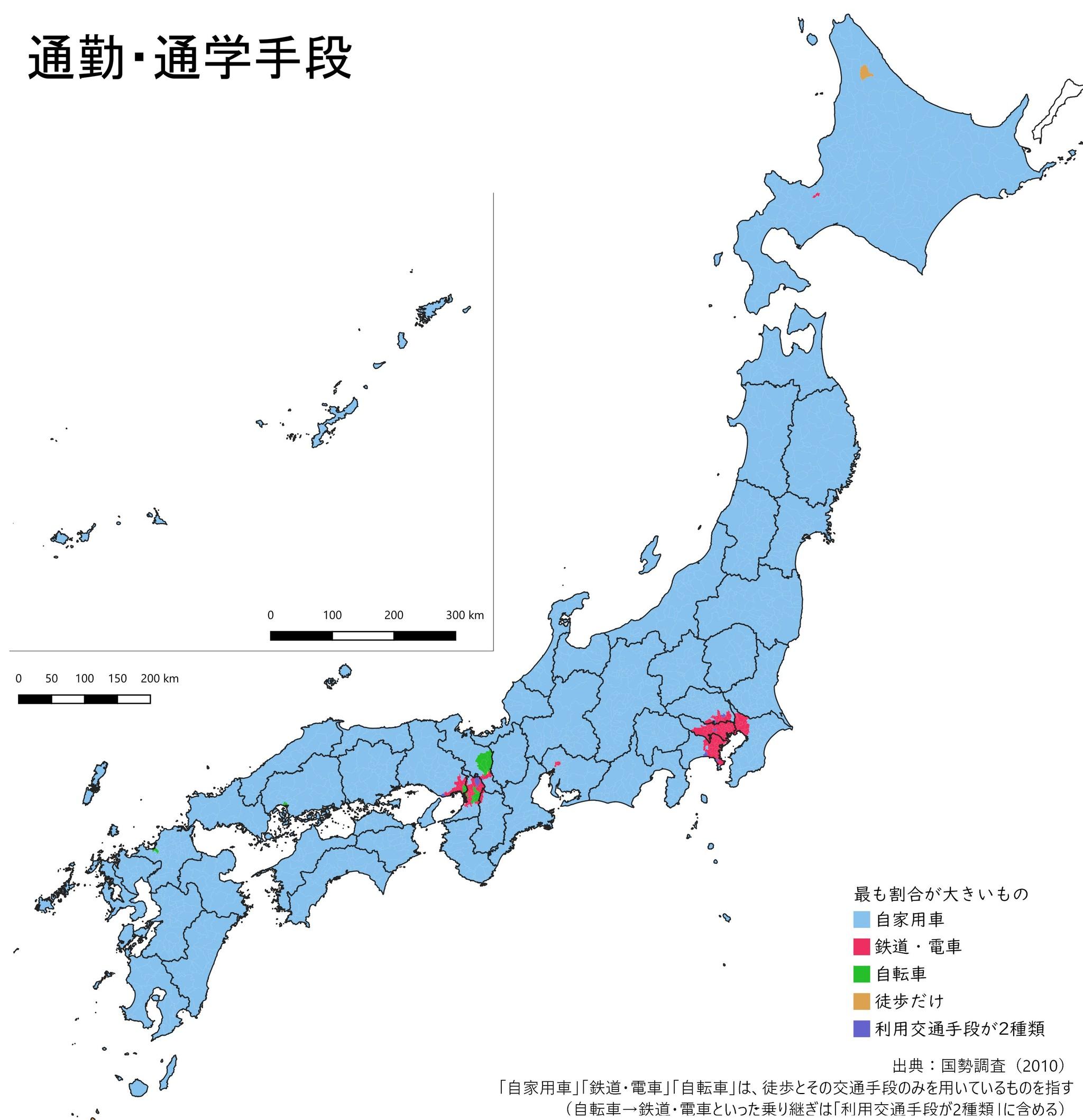 通勤・通学に電車を使っている地域はごく一部? 日本各地の「主な交通手段」を視覚化した地図が話題に まいどなニュース