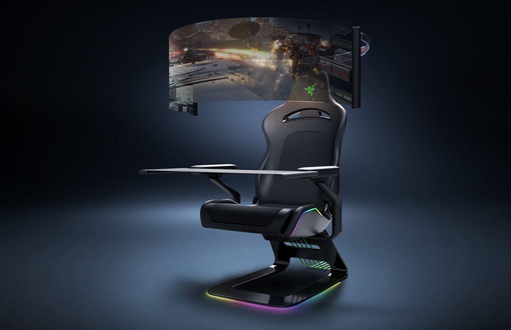 Razer、座ると目の前にフィルム式曲面OLEDが広がるゲーミングチェア  - PC Watch