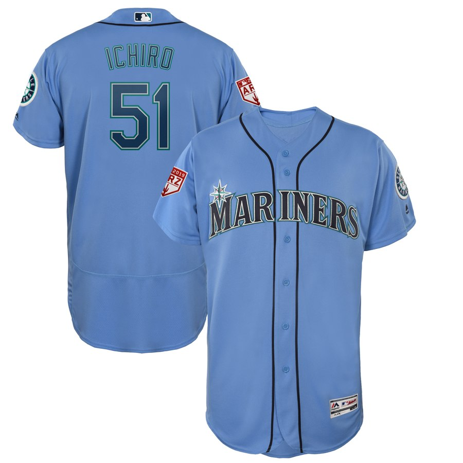 Ichiro Suzuki シアトル・マリナーズ Majestic 2019 Spring Training Flex Base Player ユニフォーム - Light Blue