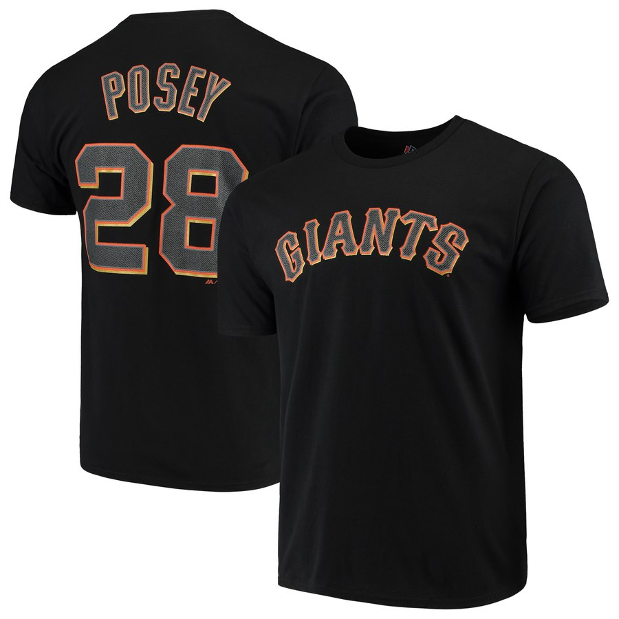 Buster Posey サンフランシスコ・ジャイアンツ Majestic Official Player Name & Number T-シャツ - Black