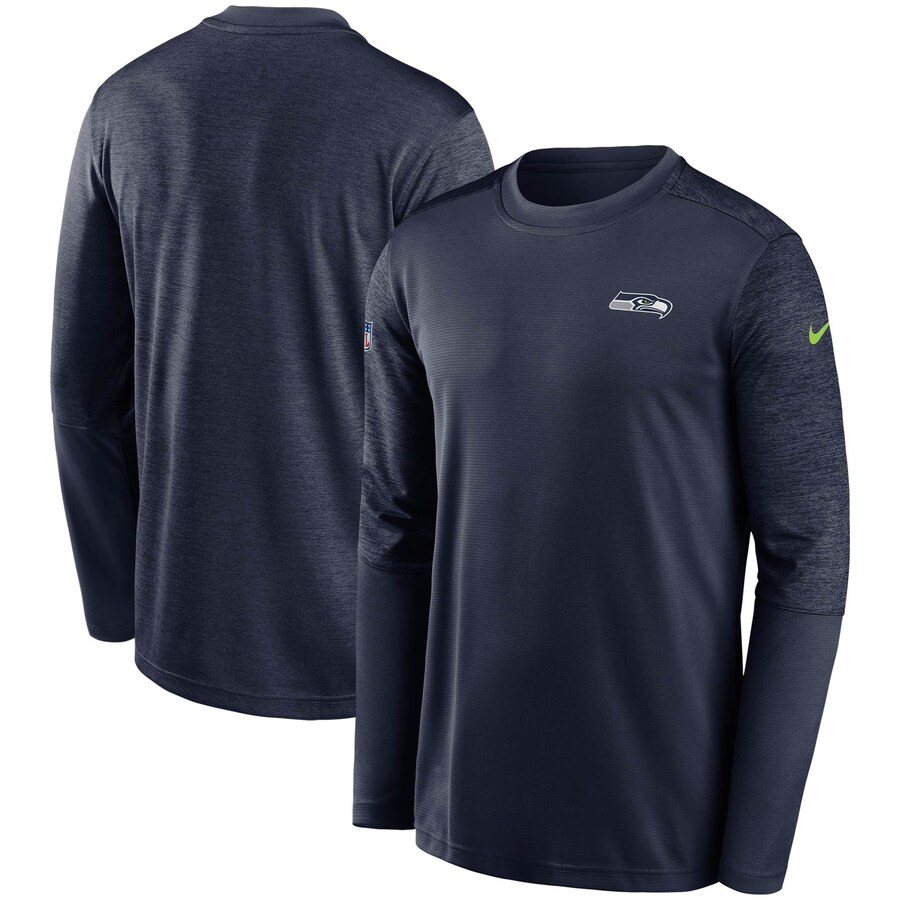 シアトル・シーホークス Nike Coach UV Performance Long Sleeve T-シャツ - Navy/Heathered Navy