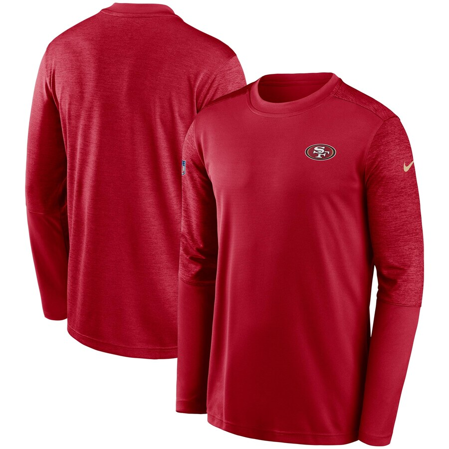 サンフランシスコ・49ers Nike Coach UV Performance Long Sleeve T-シャツ - Scarlet/Heathered Scarlet