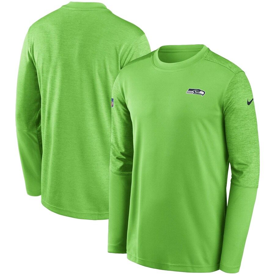 シアトル・シーホークス Nike Coach UV Performance Long Sleeve T-シャツ - Neon Green/Heathered Neon Green