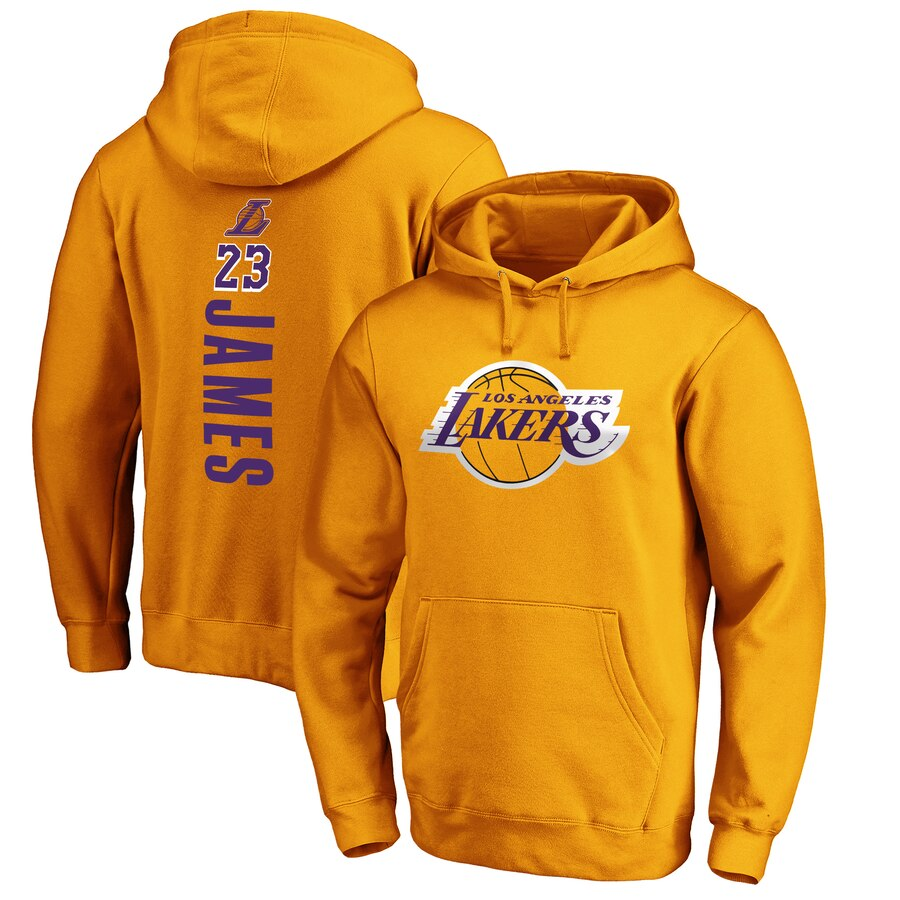 LeBron James ロサンゼルス・レイカーズ Fanatics Branded Playmaker Name & Number Pullover Hoodie - Gold