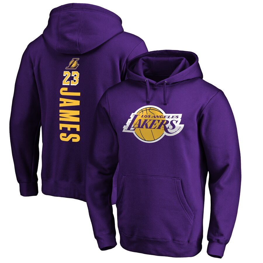 LeBron James ロサンゼルス・レイカーズ Fanatics Branded Playmaker Name & Number Pullover Hoodie - Purple