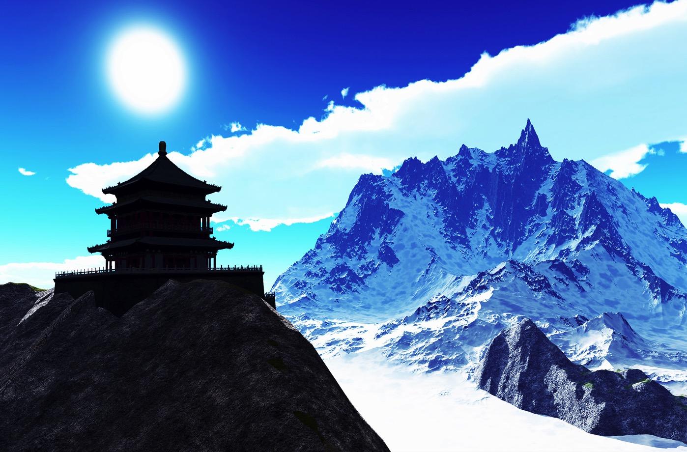 ガンケルプンスム参考画像(ブータン寺院と山)
