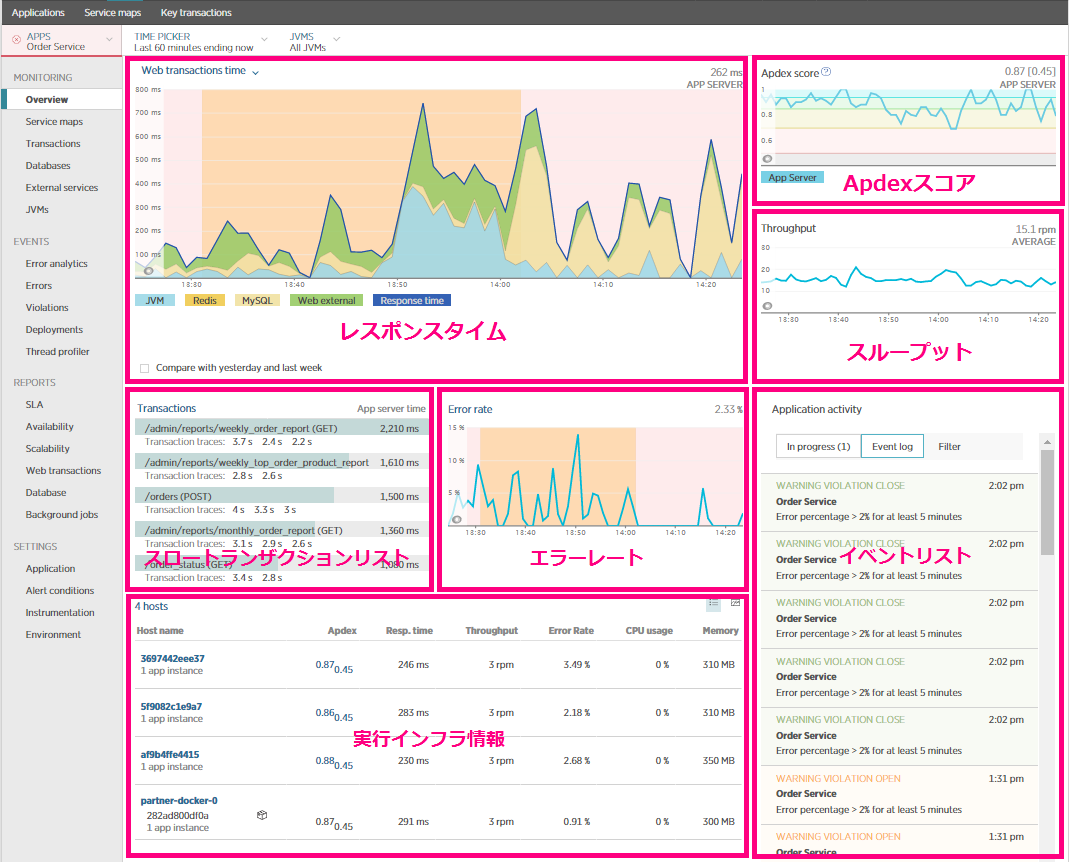 New Relic APM Overview Page