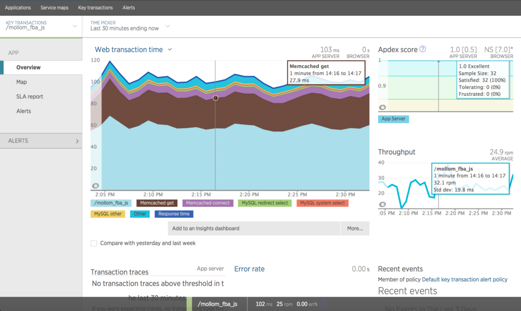 New Relic APM Key Transactions