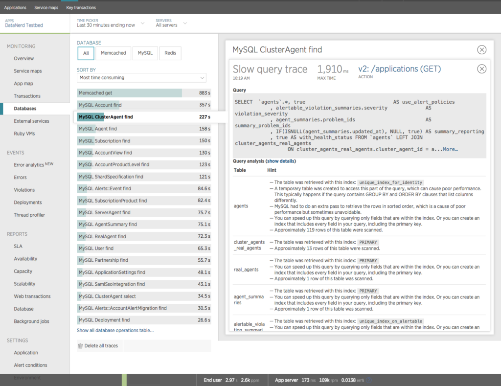 New Relic APM Slow Query Analytics