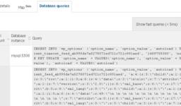 SQLクエリ内容の表示