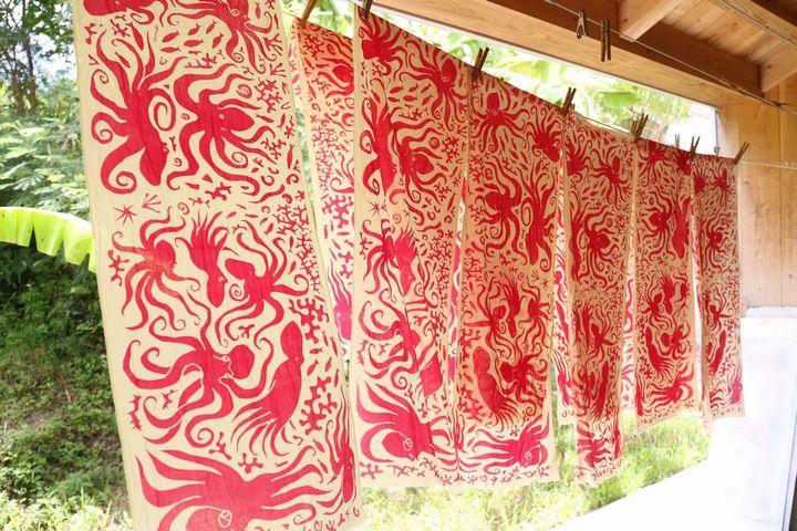 將沖繩的自然和日常, 反映在布上的紡織品上作家「Doucatty」