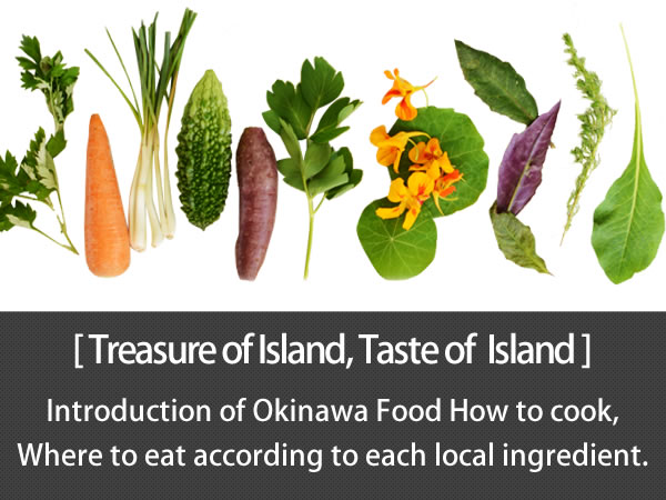 Treasure of Island, Taste of  Island Okinawa, the Island of Longevity has a plenty of treasures. We introduce of  Okinawa Food, How to cook, Where to eat according to each ingredient.