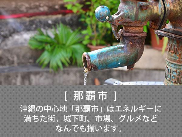 那覇市 沖縄の中心地「那覇市」はエネルギーに満ちた街。城下町、市場、グルメなどなんでも揃います。