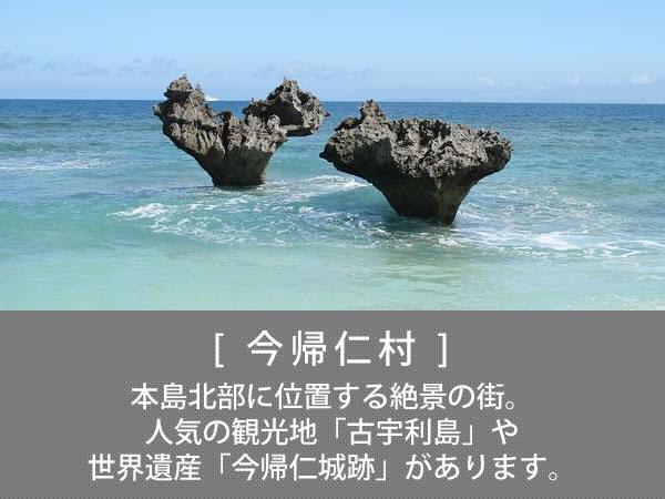 今帰仁村 本島北部に位置する絶景の街。人気の観光地「古宇利島」や世界遺産「今帰仁城跡」があります。