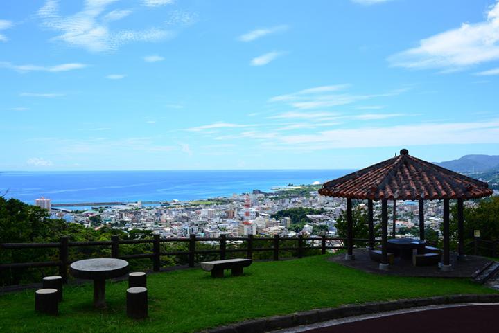 A Great Scenery Spot Visitor Center Subaco Sitting Atop Nangusuku Park Okinawa Clip